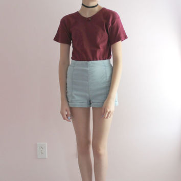 Womens Burgundy Red Knit Top With Rose Embellishment