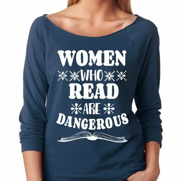 SignatureTshirts Womens 50% Cotton, 50% Polyester Lightweight Raglan, Women Who Read Are Dangerous
