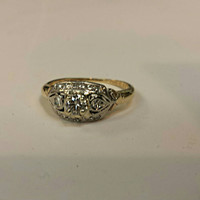 1900s/1930 14K white / Gold Diamond engagement ring white and yellow gold  two tone Brilliant Round Cut  wedding valentines gift