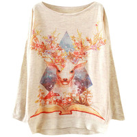 Sika Deer Print Batwing Pullovers Sweater