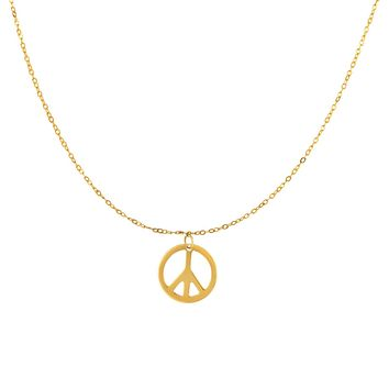 """14k Yellow Gold Polished Peace Symbol Charm Link Chain Necklace, 17"""""""