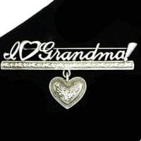 Vintage Grandma Brooch - I <Heart> Grandma with Dangling Heart - Pewter Tone Designer Signed J.J. for Jonette Jewelry Vintage Pin