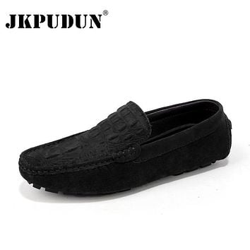 JKPUDUN Crocodile Suede Men Loafers Moccasins Genuine Leather Mens Boat Shoes Slip On Male Casual Driving Shoes Plus Size 38-46