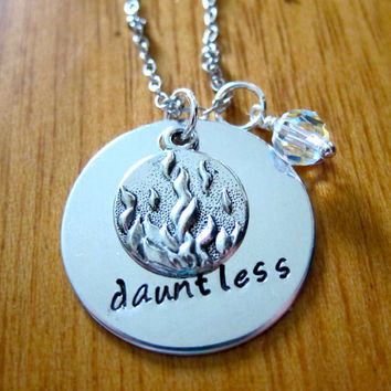 Divergent Inspired Factions Necklace. Dauntless Faction. Tris. Silver colored, charm pendant, Swarovski crystal, hand stamped jewelry.