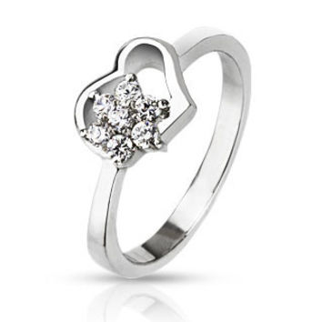 Heart in Bloom – FINAL SALE Pretty Floating Heart Design with White Cubic Zirconia Flower in Stainless Steel Ring