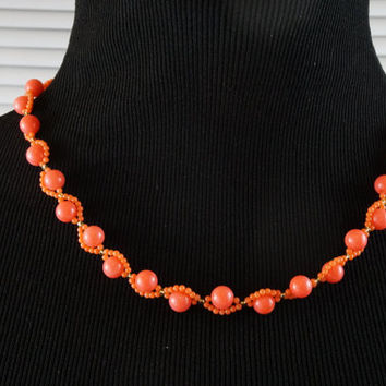 Orange coral necklace, pink coral necklace, nature coral necklace, genuine coral necklace, handmade necklace, perfect gift for her