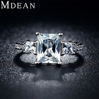 MDEAN wedding rings white gold plated jewelry For Women vintage Ring luxury Bijoux zirconia Accessories Engagement Bague MSR032