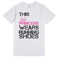 This princess wears running shoes-Unisex White T-Shirt