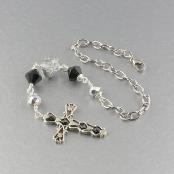 Silver & Black Rear View Mirror Cross/Wire Wrapped Rear View Mirror Cross Charm/Cross Ornament/Car Accessories For Black Or Silver Car