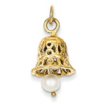 Wedding Bell with Pearl Charm in 14k Gold