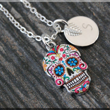 4a406920f Silver Sugar Skull Charm Necklace, Initial Charm Necklace, Perso