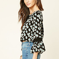 Floral Print Lace-Up Top