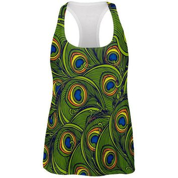 DCCKJY1 Graphic Peacock Feathers All Over Womens Racerback Tank Top