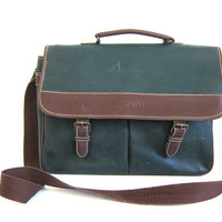 vintage 90s ESPRIT brown and green laptop messenger bag