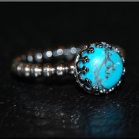 Turquoise Sterling Silver Ring, Turquoise Cocktail Ring, Crown Bezel Set Turquoise Ring, Silver Bezel Ring, Turquoise Engagement Ring