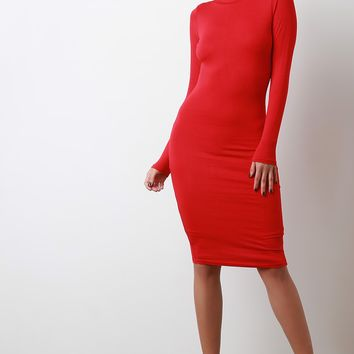 Seamless Mock Neck Bodycon Dress