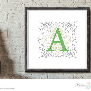 Printable Monogram Letter Design Initial Art Print Letter Art Alphabet Art Print Instant Download Printable Monogram Nursery Letter Design
