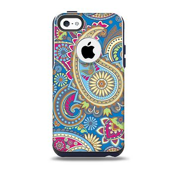 The Subtle Blue & Yellow Paisley Pattern Skin for the iPhone 5c OtterBox Commuter Case