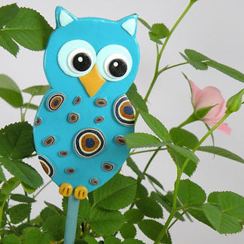 Turquoise Owl Garden Stake  Ornament Table Decorations by ArzuMusa