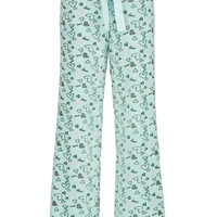 Heart Print Fleece Pants - Light Aqua