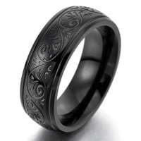 Men's 7mm Stainless Steel Ring Band Black Engraved Florentine Design Charm Elegant