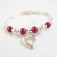 Valentine Day Gifts~Heart Bracelet for Wife or Girlfriend, Red Themed Valentines Day Gifts,Pearl Memory Wire Bracelet,Red Gifts for her