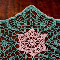 Star Flower Lace Crochet Coasters Set - Pink and Green - Crochet Lace Doily Coasters - Handmade Lace Doilies - Flower Decor - Floral Decor