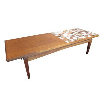 Pre-owned Half Tiled Mosaic Mid-Century Modern Coffee Table