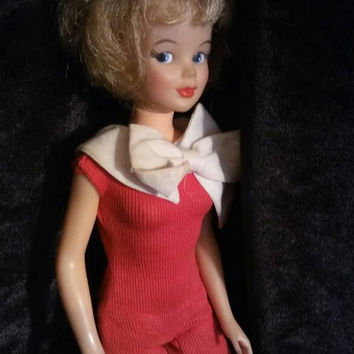 1960's Tammy Doll - Super Cute Collectible - 1965 Red Dressed Childhood Doll - Sandy Blonde - Ideal Toy Corp - T - 12