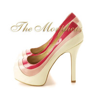 White Multi Color Platform Peep Toe Pump Heels