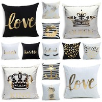 Valentine's Day Pillowcase Bronzing Craft Decoration Pillowcases Beautiful Quotes Pillow Cover Living Room Sofa Cushion Cover