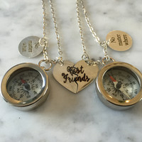 Best Friend Necklace, No Matter What Necklace, No Matter Where Necklace, Compass Necklace, Working Compass Necklace, Gift for Her