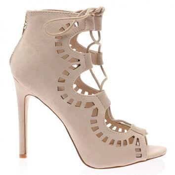 Anais Nude Faux Suede Cut Out Lace Up Heel