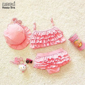 sunny eva kids swimwear girls two pieces child swimsuit with ruffle mermaid tails children bikini baby girl little girls swim