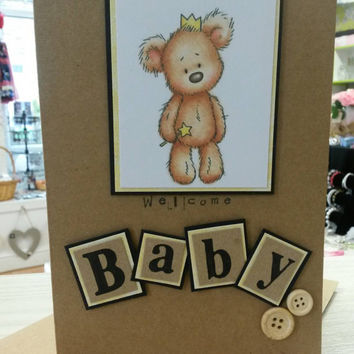 Welcome New Baby teddy image greetings card cute baby card brown A5 craft card buttons
