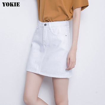 Summer style Denim skirts womens A-line high waist cotton button casual mini casual jean skirts White pink black Plus size S-3XL