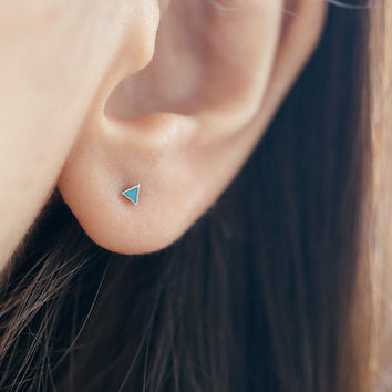 Tiny Turquoise Triangle Studs, Tiny Turquoise Earrings, Turquoise Jewelry, Triangle Turquoise Studs, Triangle Ear Studs, Tiny Earrings