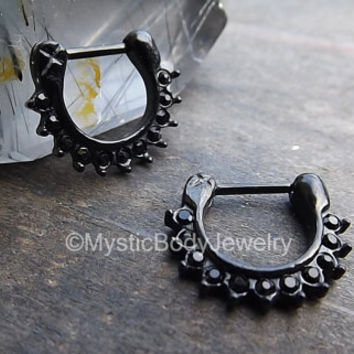 "Septum Nose Ring 16g Piercing Clicker Black Gemstone 5/16"" 8mm Hinged Prong Body Jewelry 100% Stainless Steel Silver Onyx Piercings Dark Gem"