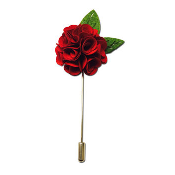 Red Rose Leaf Lapel Pin Boutonniere