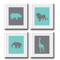 Set of 4 Prints Zoo Animals Safari Blue and Gray for Nursery