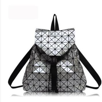 Geometric shoulder bag backpack schoolbag wave Folding patent leather bag Quilted folding backpack school book bag silver white