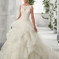 [177.74] Chic Tulle & Organza Satin Bateau Neckline A-Line Wedding Dresses With Beaded Lace Appliques - dressilyme.com
