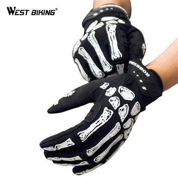 Full Finger Skull Touch Bicycle Gloves MTB Bike Sport Breathable Non-slip