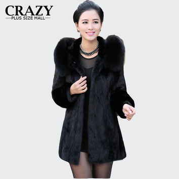 S - 6XL Women Winter Hooded Fake Fur Coats Plus Size 5XL 4XL Vintage Artificial Black Faux Fox Fur Coat With Hood Big Size