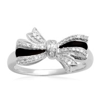 Sterling Silver Black Enamel Bow Diamond Ring (1/10 cttw, I-J Color, I2-I3 Clarity)