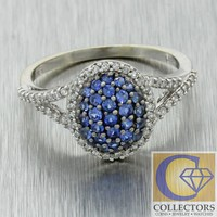 Vtg EFFY 14k White Gold 1.00ct Diamond Sapphire Halo Split Shank Cluster Ring
