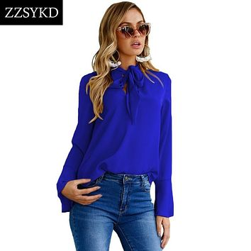 ZZSYKD Women Chiffon Blouses Summer Long Flare Sleeve Shirt Casual Loose Tops 2018 Fashion Formal Blouses Office Women Blouse