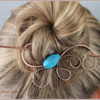 Copper Bun Wrap with Turquoise Howlite Bead, Wire Wrapped Bun Pin, Hair Slide, Hair Pin, Hair Barrette, Hair Jewelry,, Hammered, Swirls