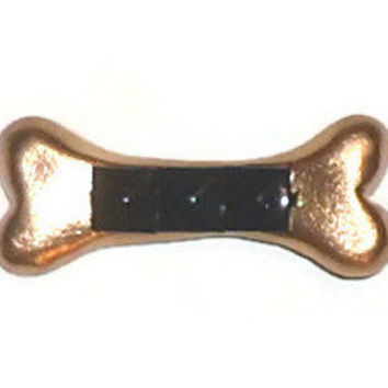 Gold Black Stud Hand Sculpted Bone Accessory Hair Clip
