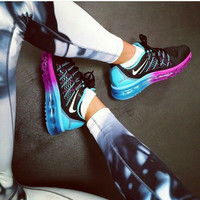 """""""NIKE"""" Trending AirMax Behind the hook section rainbow knited line Fashion Casual Sports Shoes Black (blue roses soles) Internal blue"""